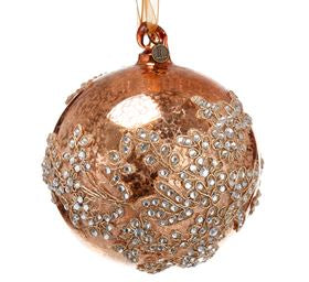 Gold Lace Glass Ball Ornament