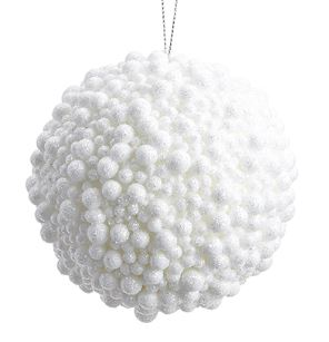White Glitter Bumpy Ball Ornament