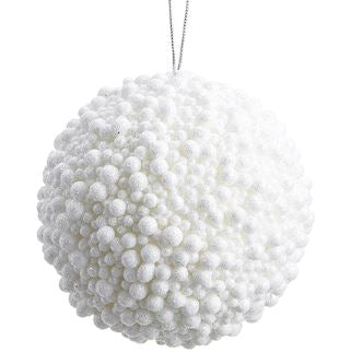 White Glitter Berry Ball Ornament