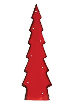Red and Gray Stoneware Christmas Trees