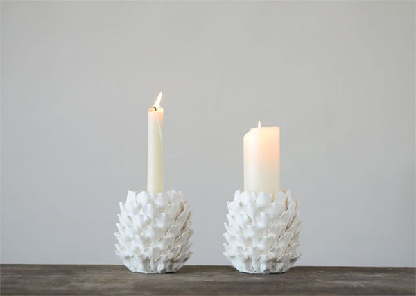 White Pinecone Taper Candle Holder