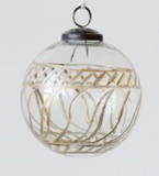 Gold Etched Glass Ball Ornament