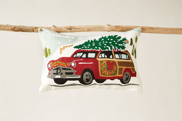 Embroidered Car with Tree Pillow