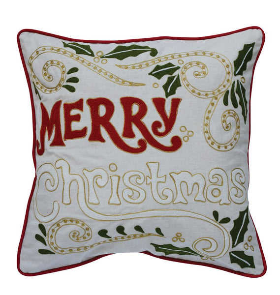 "Embroidered ""Merry Christmas"" Throw Pillow"