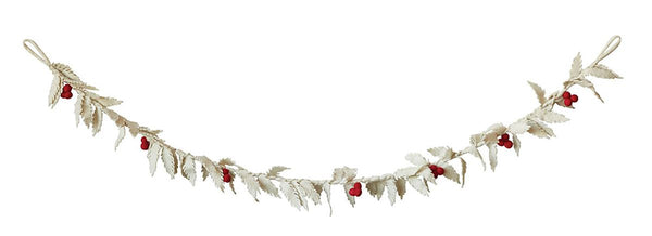 White wool holly garland