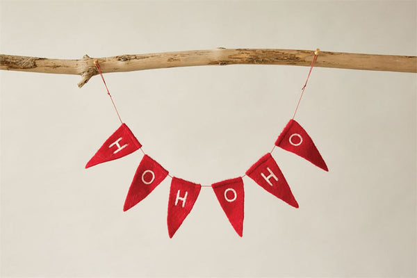 "Red Wool ""Ho Ho Ho"" Banner"