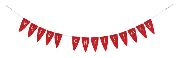 Red Wool Merry Christmas Banner