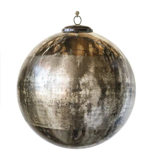 Black and Silver Oxidized Ball Ornament