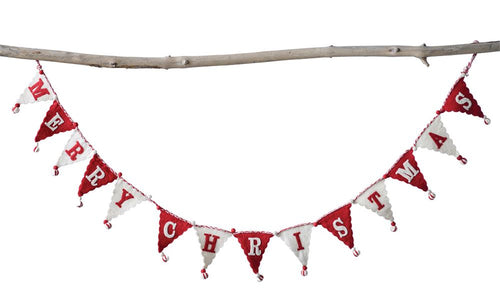 Red & White Wool Pennant Garland