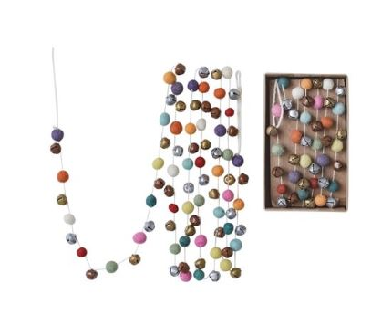 Colorful Pom-Pom and Bell Garland