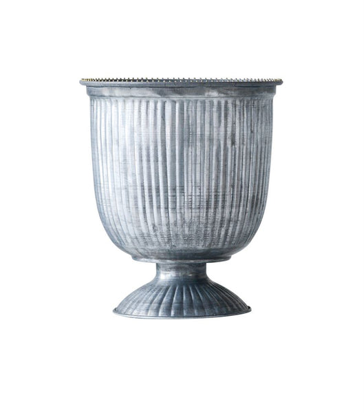 Galvanized Metal Footed Urn