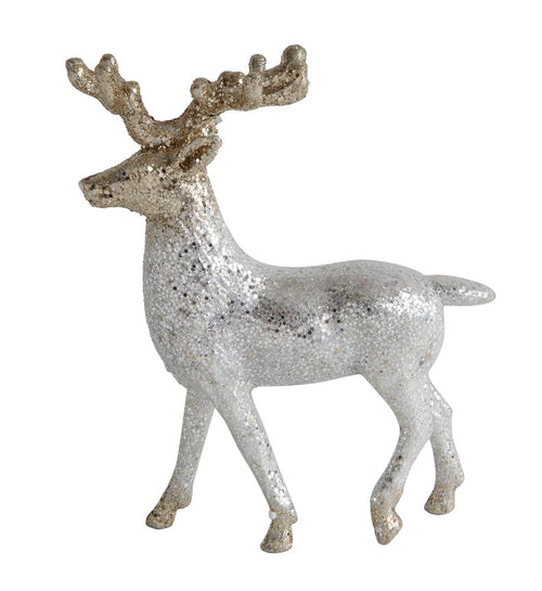 White Glittered Reindeer Ornament