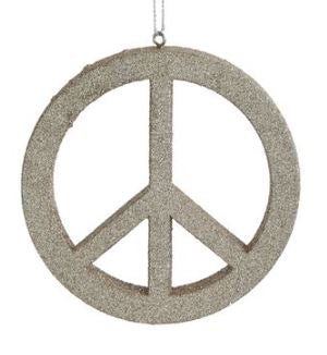 Glittered Peace Sign Ornament