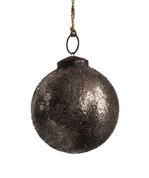 Oxidized Silver Glass Ball Ornament