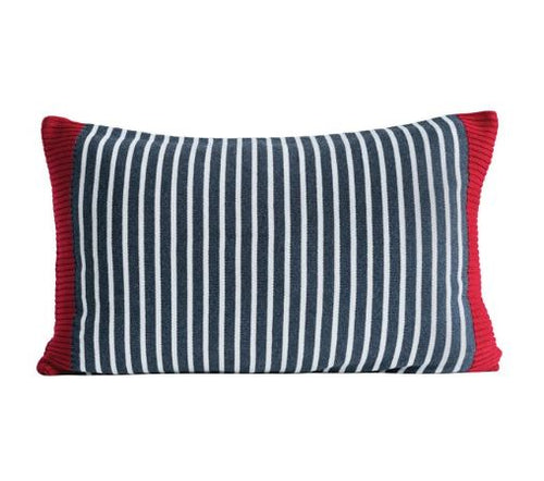 Gray Striped Knit Throw Pillow