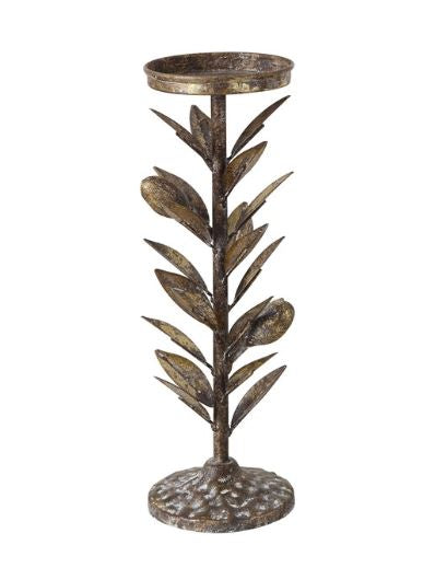 Olive Leaf Pillar Holder