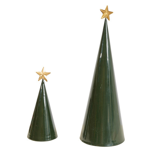 Green Metal Cone Trees