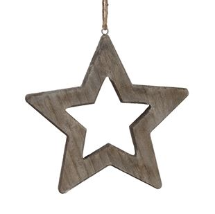 Wood Open Star Ornament