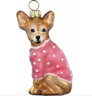 Chihuahua in Pink Sweater Ornament