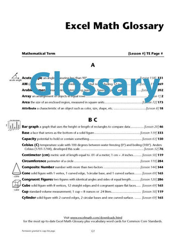 Glossary in English or Spanish