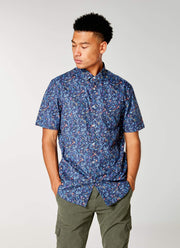 Good Man | Woven On-Point Shirt | Navy Blue Jay Vine Floral