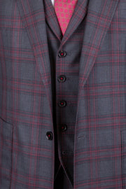 Charcoal with Red Plaid