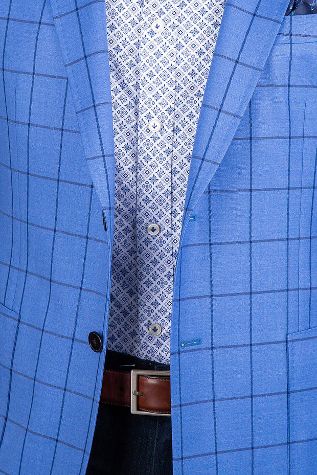 Light Blue with Navy Window Pane