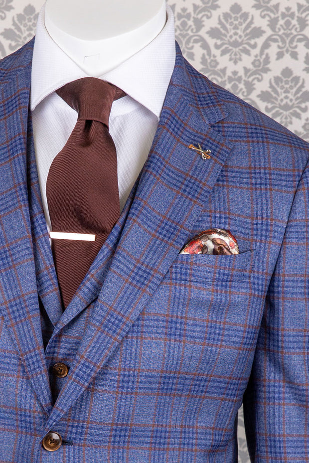 Medium Blue with Toffee Glen Plaid