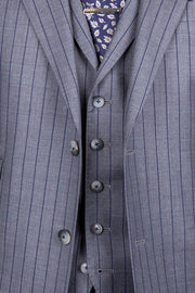 Light Grey with Navy Pinstripe