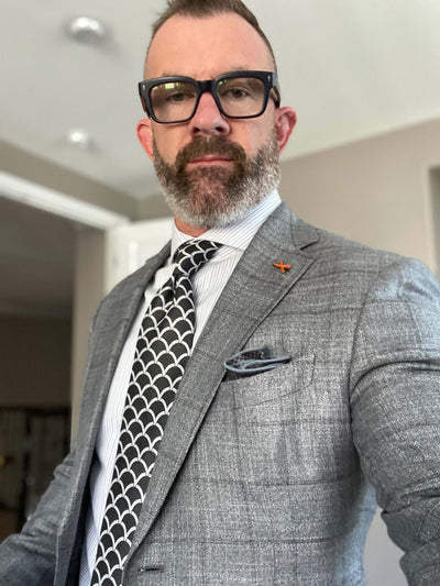 Light Grey Windowpane Bamboo Sportcoat
