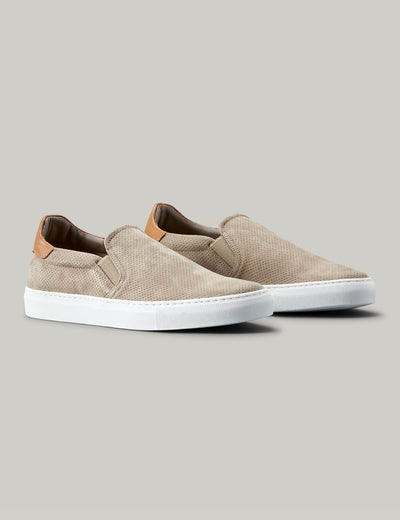 Good Man | Legend Slip-On Nubuk Pref Sneaker | Sand and Vachetta