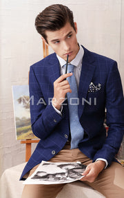Marzoni Dark Blue Window Pane Sportcoat