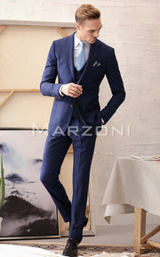 Marzoni Blue Plaid With Royal Blue Windowpane Suit