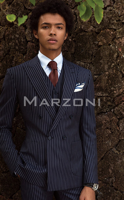 Marzoni Dark Navy Bold Pinstripe Suit