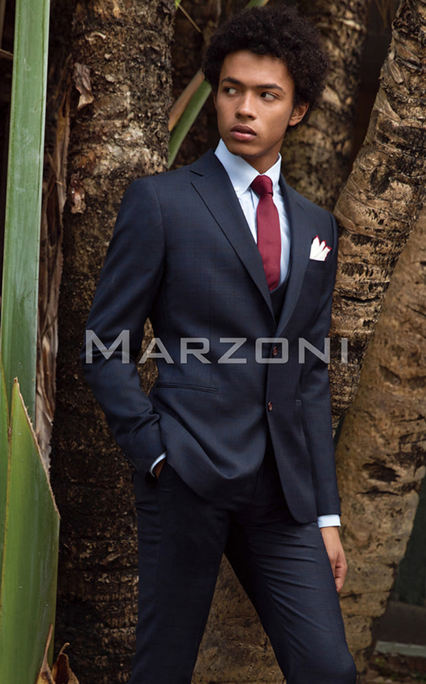 Marzoni Dark Navy Plaid With Burgundy Windowpane Suit