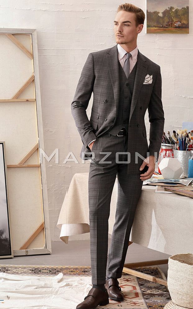 Marzoni Grey Plaid With Light Grey Windowpane Suit