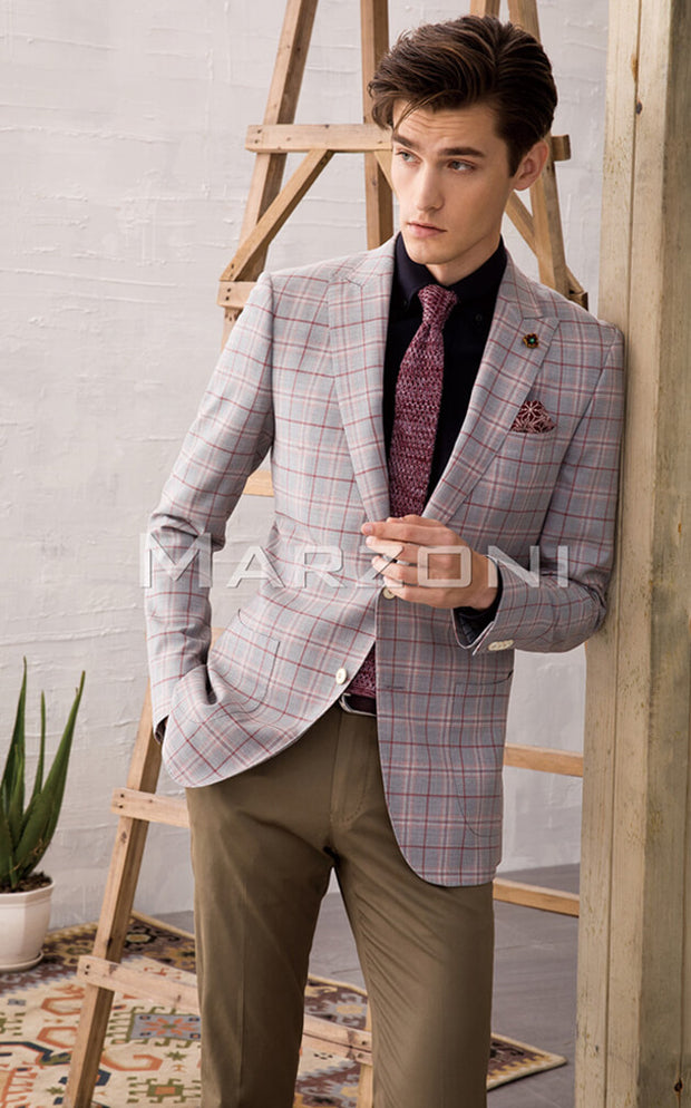 Marzoni Light Grey/Red Sportcoat