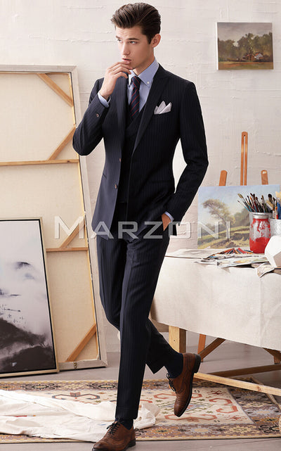 Marzoni Navy Classic Pinstripe Suit