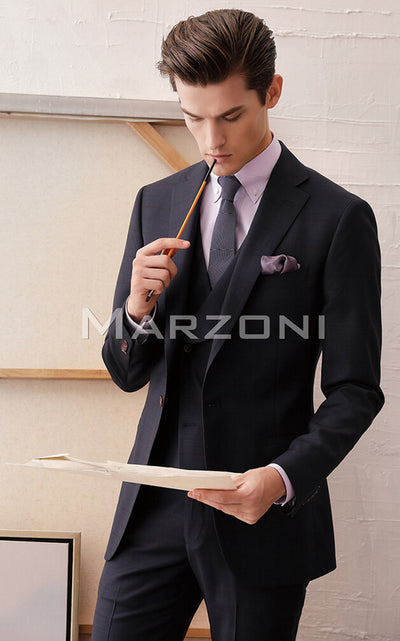 Marzoni Dark Navy And Burgundy Plaid Suit