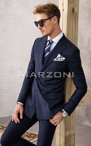 Marzoni Navy With Dark Navy Plaid Suit