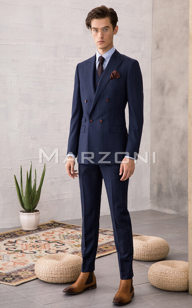 Marzoni Navy With Brown Pinstripe Suit