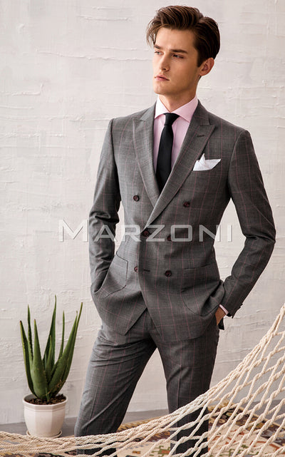 Marzoni Grey With Pink WIndowpane Suit