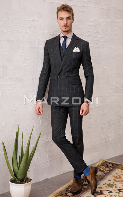 Marzoni Charcoal With Sky Blue Windowpane Suit