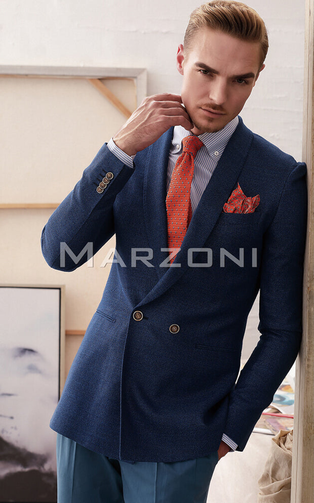 Marzoni Solid Dark Blue Sportcoat
