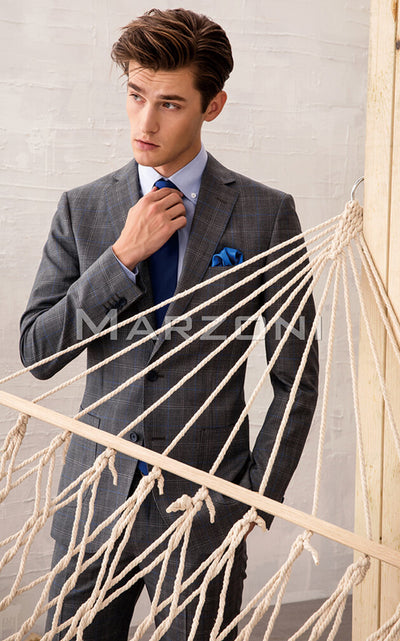 Marzoni Grey With Charcoal and Sky Blue Windowpane Suit