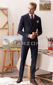 Marzoni Dark Navy With Fuschia Pinstripe Suit