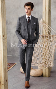 Marzoni Grey With White Windowpane Suit