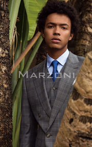 Marzoni Light Grey Plaid Suit