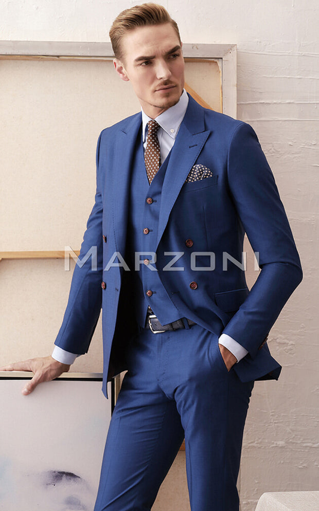 Marzoni Medium Blue Solid Suit