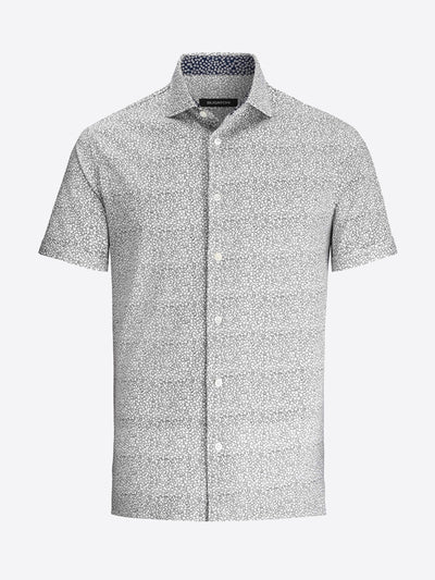 Bugatchi | Short Sleeve Knit Shirt | Chalk